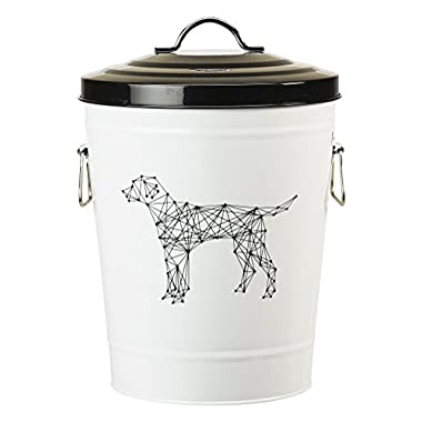 Amici Pet, A7YY022BR, Zentangle Collection Dog Metal Storage Bin, Food Safe, Push Top, 17 Pound Capacity