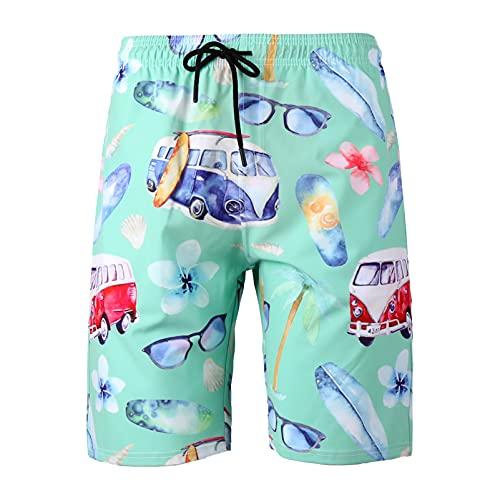 HOUWENJ Troncos De La Playa De Los Hombres Pantalones Cortos para Hombre Troncos De Natación De Secado Rápido Shorts Porte Cintura Elástica Trajes De Baño con Malla Forrada cyan-3XL
