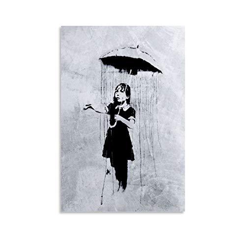 one1love Banksy Street Graffiti Kunst Regenschirm Leinwand Kunst Wanddekoration Poster Banksy Revolution Wandkunst Bild College Wohnheim Raumdekorationen 40 x 60 cm