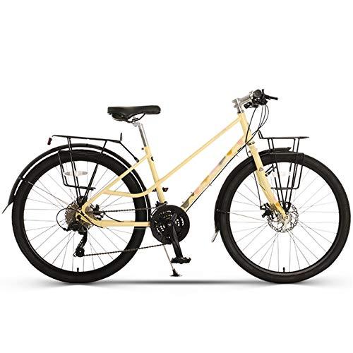 Bicicleta de Montaña para Hombres de 26 Pulgadas, Freno de Disco Doble, Absorción de Impactos, MTB, Velocidad Variable, Bicicletas para Adultos (Color : Women's Yellow, Talla : 26inches)