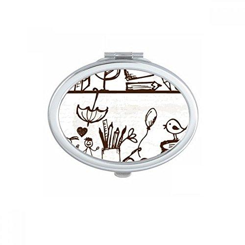 DIYthinker Kindliche Kinder nett von Hand gezeichnete Illustration Bücherregal College-Oval Compact Make-up Taschenspiegel Tragbare Nette kleine Hand Spiegel Geschenk