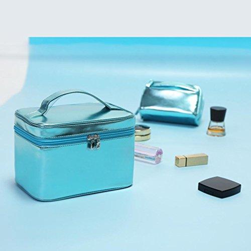 HUIJU Sac cosmétique Sac de Rangement Portable de Grande capacité Jolie Fille Coeur Corée Portable cosmétique Cas (2 Pack), 3