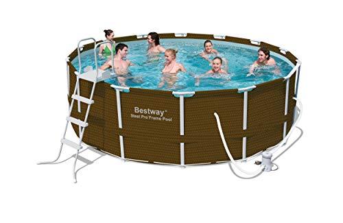 Bestway 12801NL de 02Frame Pool Set 427x 122cm Premium ratán. 7Piezas