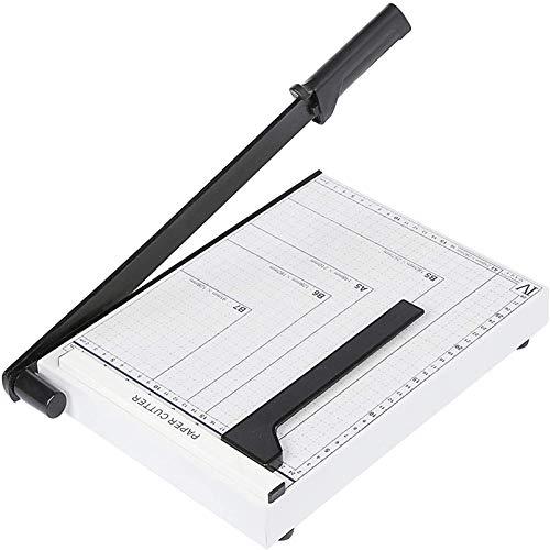 Voluker Guillotina papel A4,Base de Metal,Cortador de Papel,Puede cortando 10 hojas al mismo tiempo papel,32,5 x 25 x 3 cm,Blanco