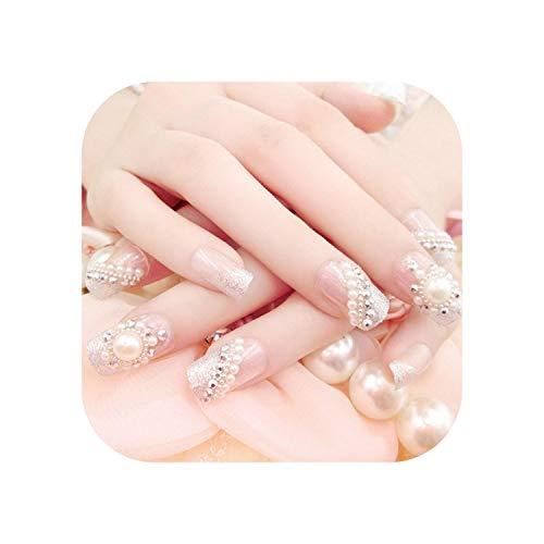 Vente chaude 24 PCS/Ensembles De Mariée De Mariée Faux Ongles Cristal Perle Strass Nail Patch Pleine Nail Conseils Ongle Femmes Nail Art-White-