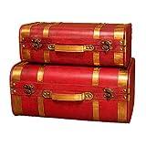 XBSXP Maletas Decorativas Vintage Maletas Vintage de Madera Cajas de joyería Cajas de Accesorios de Tiro Caja de Cofre de baúl 2 Piezas Baúl de Almacenamiento (Color: Rojo, Tamaño