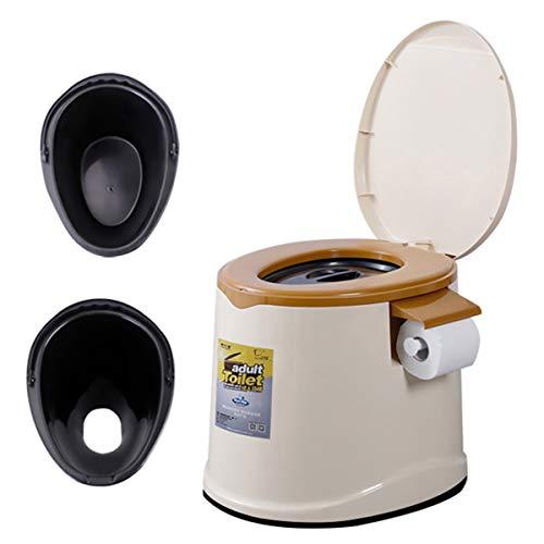 BANESE draagbare commode stoel volwassen - multifunctioneel chemisch toilet met twee vaten en toiletpapier houder voor thuis, camping, Caravan, picknick, vissen