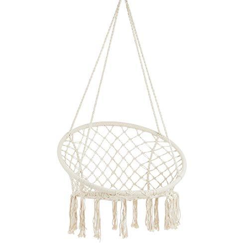 Project One Macrame Hanging Hammock Chair, Hand Woven Rope Hammock Swing Chair for Indoor, Outdoor, Home, Bedroom, Patio, Deck, Garden (White)