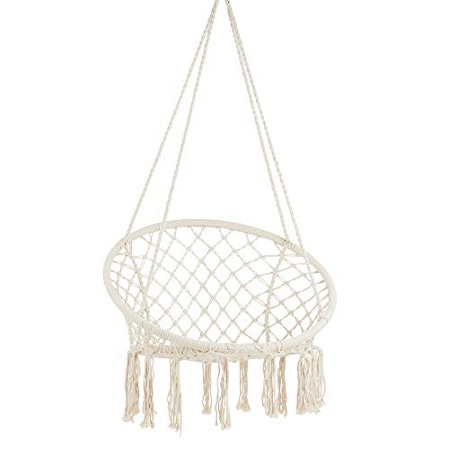 Project One Macrame Hanging Hammock Chair, Hand Woven Rope Hammock Swing Chair for Indoor, Outdoor,...