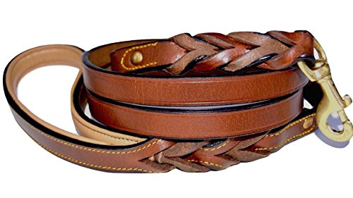 Soft Touch Collars Leather Braided Dog Leash, Brown 6ft x 3/4 Inch, Naturally Tanned 6 Foot Full Grain Leather Lead
