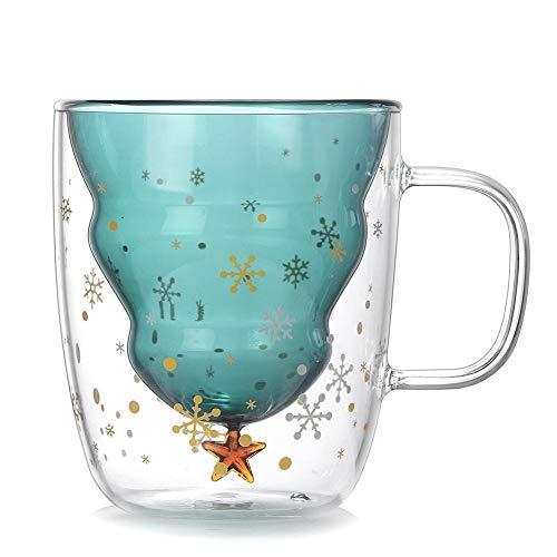 presentimer Innovador árbol de Navidad de Cristal Star Cup Home Star Taza de Alta Temperatura niños Multifuncional Transparente Doble Taza Capacidad 250 ml