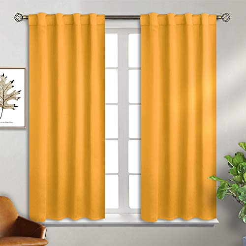 BGment Rod Pocket and Back Tab Blackout Curtains for Bedroom - Thermal Insulated Room Darkening Curtains for Living Room , 2 Window Curtain Panels ( 38 x 45 Inch, Mustard Yellow)