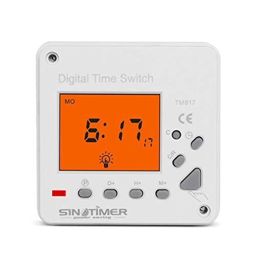 Pantalla LCD Luz de Fondo Temporizador electrónico Digital Semanal Interruptor de Tiempo Reloj Alarma (Blanco 220 V)