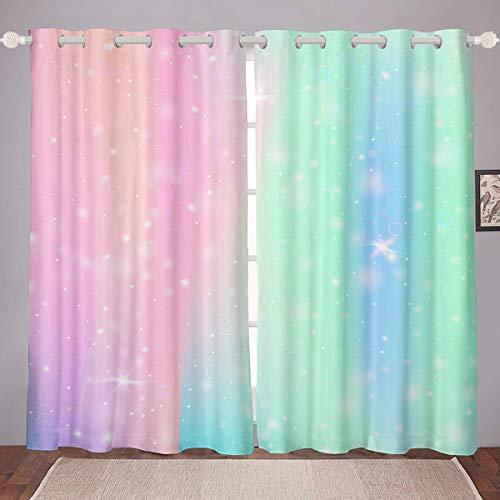 "Erosebridal Tie Dye Curtains Girl Batik Window Treatment Rainbow Iridescent Gypsy Curtain Panels Trippy Window Drapes, Pink Purple Blue Print Dorm Decorative Bedroom Kitchen 76""x45"""
