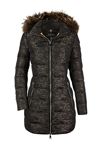 Milestone Damen Daunenjacke Winterjacke Randi Grün Camouflage Kapuze mit Pelz Gr. 36 - 46 (44)