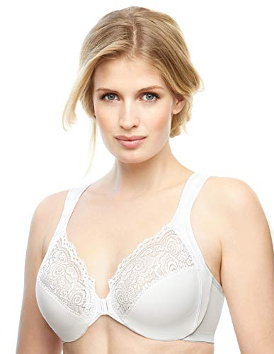 Glamorise womens Elegance Underwire Full Figure Wonderwire Front Close Bra #1245, White, 42C
