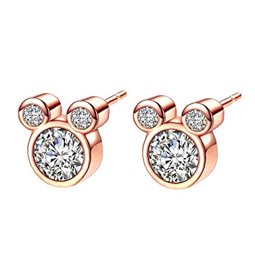 Women's Stud Earrings Ladies Silver Plated Cubic Zircons White Crystal Earrings Studs Earbob Jewelry for Girls Children Gold Costume Jewelry