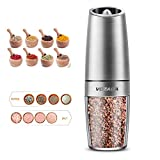 Vozada Electric Gravity Pepper and Salt Grinder Mill, Automatic Electric Pepper Mil Grinder