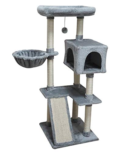 ISH&NAP US12H Cat Tree Cat Tower Cat Condo Sisal Scratching Posts with Jump Platform and Big Soft Hammock Cat Furniture Activity Center Kitten Play House Grey