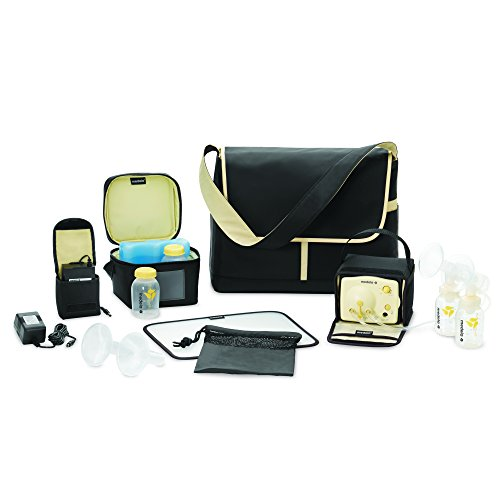 Image of Medela Pump in Style Advanced Breast Pump, Double Electric Breast Pump Kit, Portable Battery Pack, Stylish Microfiber Messenger Bag, Removable Cooler, Contoured Ice Pack, Bottles,2 Breast Shield Sizes
