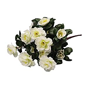 Silk Flower Arrangements Artificial and Dried Flower Household Outdoor Artificial Red Azalea Flowers Bushes Resistant UV Flowers Decor Decorations Home Small Fake D9H3 - ( Color: G )