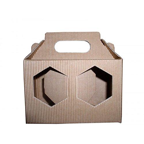Apistore Scatola in Cartone per 2 vasi Miele da 250 g (Marrone) - Conf. da 5 Pezzi