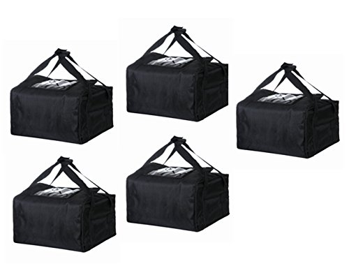 "Polyester Insulated Pizza/Food Delivery Bag Professional Pizza Delivery Bag 18""×18""×8"" for Three 16"" Pizza Boxes (Black,Set of 5 Bags)"