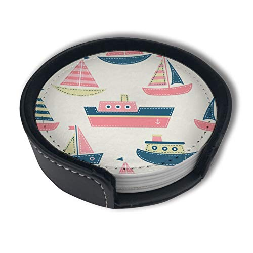 Cute Boats Drinks Coasters With Holder, Suitable For Kinds Of Cups, Set Of 6
