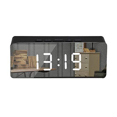 Bayue led-spiegelwekker, digitale snooze, tafelklok met thermometer, USB-oplaadbaar, groot elektronische display, multifunctioneel