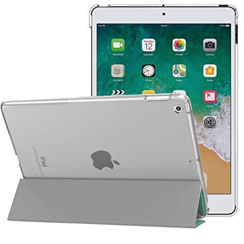 MoKo Schützhülle Kompatibel mit 2018/2017 iPad 9.7 6th/5th Generation - Auto Schlaf/Aufwach Intelligente Hülle mit Translucent Rückseite Standfunktion Cover - Papageienbaum