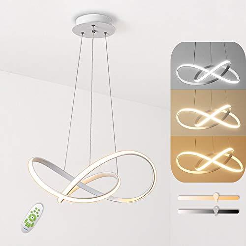 Lampada a Sospensione a LED, 45W Lampadario Moderno Semplice e Creativo, Telecomando Dimmerabile con Funzione di Memoria, Adatto per Soggiorno Camera da Letto Sala da Pranzo Plafoniera Lampadario