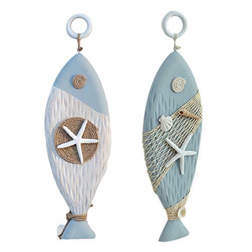 N A 6 Sets Adornos de Madera Miniaturas de Pesca Artículos de decoración Colgante de decoración del hogar