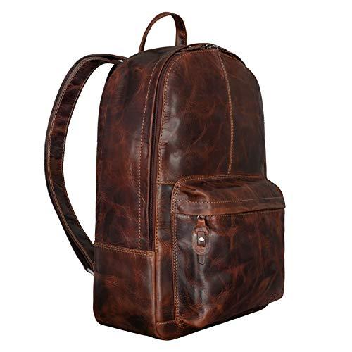 STILORD 'Marley' Echtleder Rucksack Vintage für Business Schule Uni Moderner Laptop Rucksack Großer Daypack für Breite DIN Ordner A4 Echtes Leder, Farbe:Milano - braun