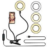 Anillo de Luz Selfie, LED Luz Anular con Soporte para Teléfono Brazo Largo Flexible 3 Modos de Iluminación para Youtube/Maquillaje/Fotografía Vlog/ Facebook