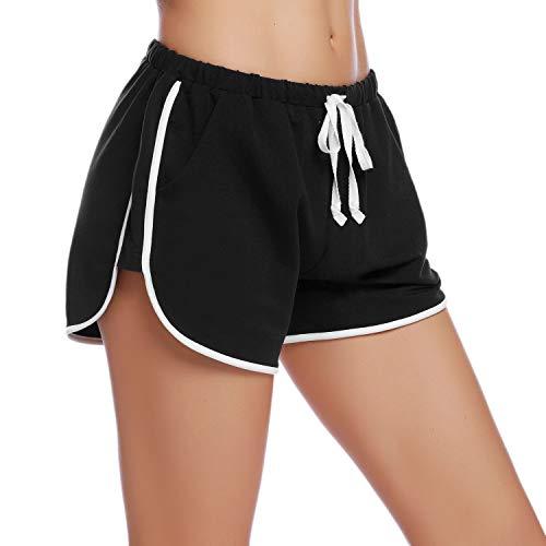 iClosam Pantaloncini Sportivi Cotone Donna, Pantaloni Pigiama Corti Confortevole e Traspirante Pantaloni per Yoga Jogging Sport Fitness Casual Sonno (Nero,S)