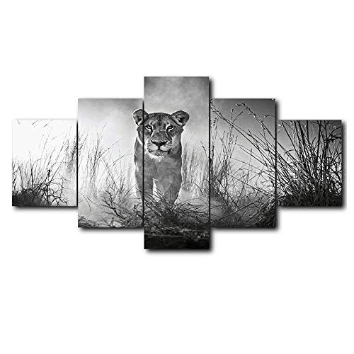QRTQ 5 panelen canvas schilderij 200x100 cm zwart-wit leeuw muurkunst canvas schilderij schieten muurdecoratie schilderij woonkamer decoratie (geen frame)