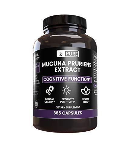 Natural Mucuna Pruriens (365 Capsules) Gluten-Free & Non-GMO, Made in The USA (1000 mg Serving)