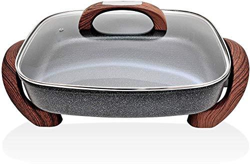 Ertex XXL Elektrische Pizzapfanne 40x30x7 cm Oval HOLZLOOK Elektropfanne Mit Marmor Granit Beschichtung nutzbar als Partypfanne, Multipfanne oder elektrischer Tischgrill,(40x30x7 cm HOLZLOOK)
