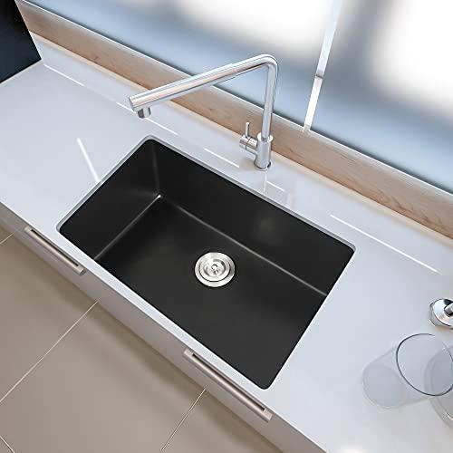 Zeesink Granite Composite Undermount Kitchen Sink,Quartz Classic Single Bowl Kitchen Sink 31 X 18 Inch,Granite Composite Kitchen Sink,Midnight Black