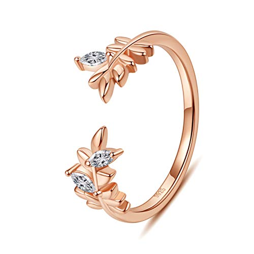 VIKI LYNN Adjustable Open Leaf Tail Ring Knuckle Rings 925 Sterling Silver Joint Pinky Finger Ring for Women