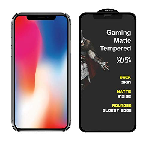 MEDULLA Edge to Edge (Black) Hybrid Matte Tempered Glass Gaming Screen Protector for Apple iPhone X