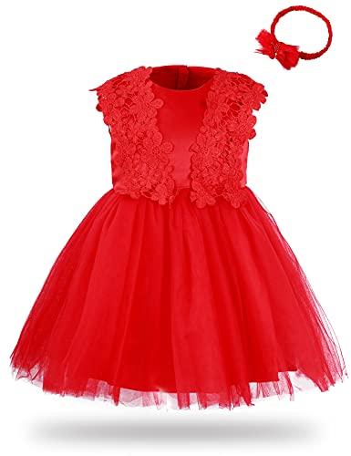 Mintgreen - Vestido de flores para niña, encaje de tutú o princesa, vestido con diadema rojo 3 mes