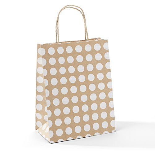 GSSUSA 8x4.75x10 50 Pcs Kraft Paper Bags Shopping Bags Grocery Mechandise Paper Gift Bags (Brown with White Dot)