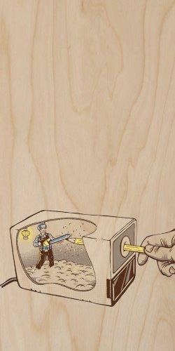 School Humor Electric Pencil Sharpener w/Lumberjack Man & Chainsaw - Plywood Wood Print Poster Wall Art