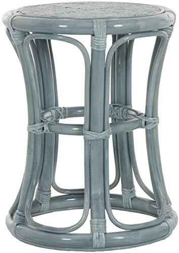 korb.outlet Hoher Rattan Hocker Rund Sitzhocker aus echtem Rattan/Rattanhocker Blumenhocker Beistell Hocker Fußhocker (Blau)