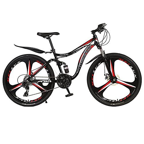 26 Pulgadas Adulto MTB Bicicleta, 3 Cuchillos Rueda Montaña Rueda Bicicleta Bikes, 21 Velocidades Doble Disco Freno