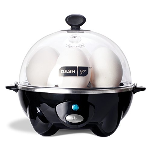 Dash Rapid Egg Cooker: 6 Egg Capacity Electric Cooker for Hard Boiled Eggs, Poached Eggs, Scrambled Eggs, or Omelets with Auto Shut Off Feature - Black