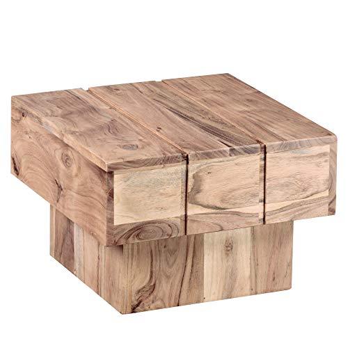 Wohnling Mesa Bodi Madera Maciza Acacia Diseño Salón Mesa 44x 44cm Cuadrado 30cm Mesa Auxiliar Cube Modern Cuadrado Natural Madera Rústico de Estilo ausgefallen Indio marrón Salón Muebles