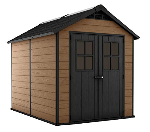 Keter Newton 7.5x9 Large Resin Outdoor Storage Shed Kit – Perfect to Store Patio Furniture, Garden Tools, Bike Accessories, and Lawn Mower, Mahogany Brown