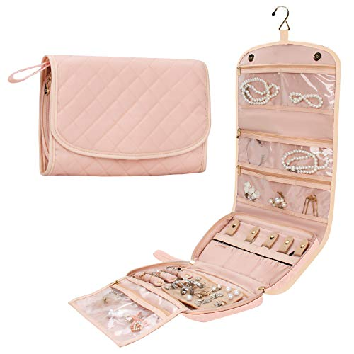 MONSTINA Travel Jewelry Organizer Case Foldable Jewelry Roll Bag Handing Jewery Storage Bags with Hook for Necklace Earrings Rings Bracelet Brooches